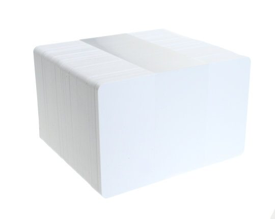 White blank plastic cards. Pack of 100 Card Stock