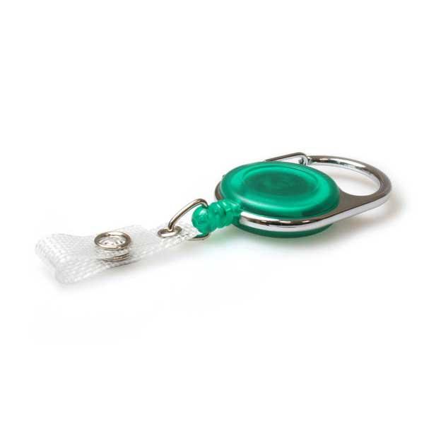 green carabiner reel